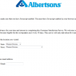www.albertsonssurvey.com - Albertsons Customer Survey