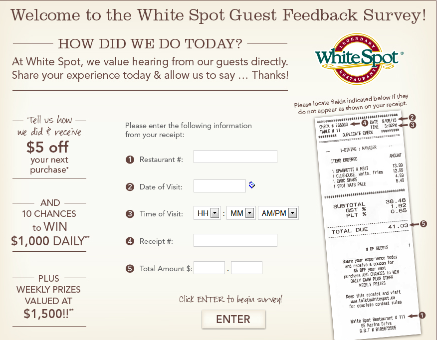talktowhitespot.ca - White Spot Guest Feedback Survey