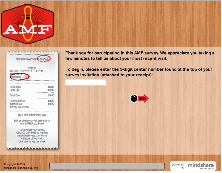 www.amfsurveys.com - AMF Bowling Centers Discount Survey