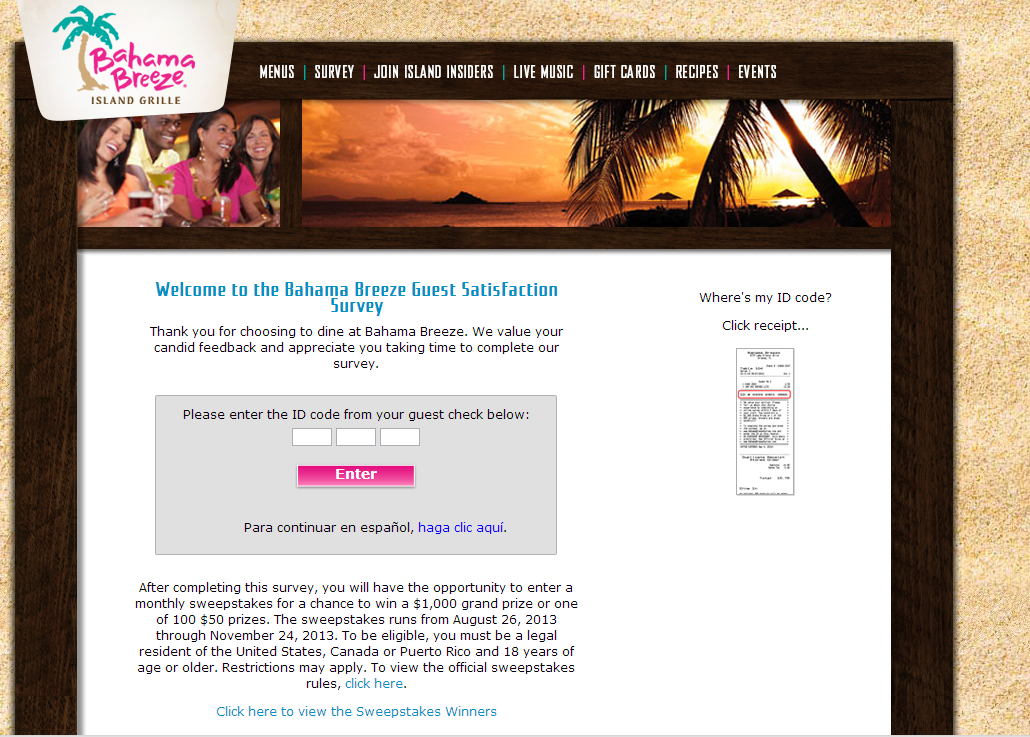 www.bahamabreezesurvey.com - Bahama Breeze Guest Satisfaction Survey