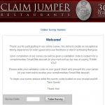 www.claimjumperfeedback.com - Claim Jumper Customer Feedback Survey