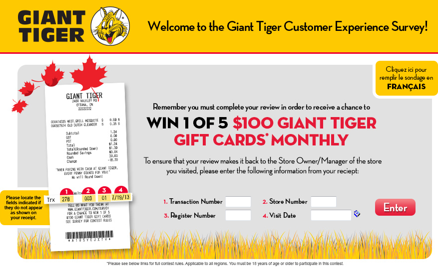 survey.gianttiger.com - Giant Tiger Customer Experience Survey