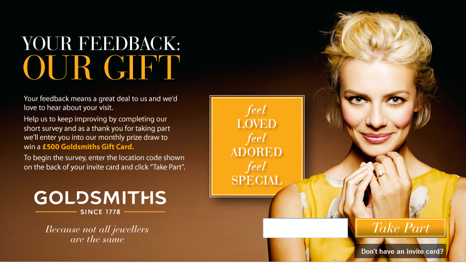 www.goldsmiths-feedback.co.uk - Goldsmiths £500 Gift Card Customer Survey