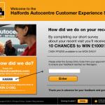 www.tellhalfordsautocentres.com - Halfords Autocentre Customer Experience Survey