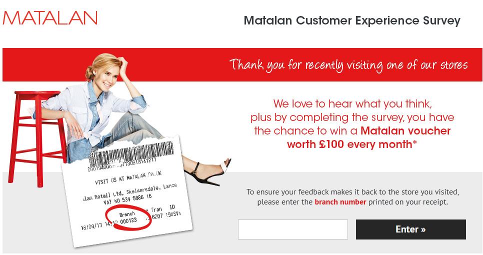 www.matalan-survey.com - Matalan £100 Voucher Customer Survey