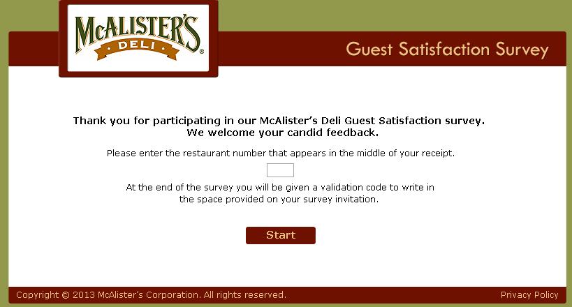 www.tellmcalisters.com - McAlister's Deli Guest Satisfaction Survey