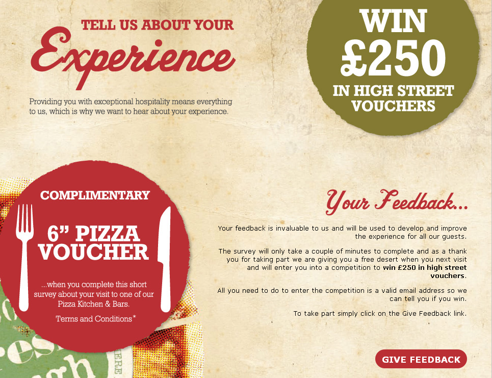 www.pkbfeedback.co.uk - Orchid Pub Group Pizza Kitchen&Bars Guest Experience Survey