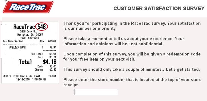 www.TellRaceTrac.com - RaceTrac Customer Satisfaction Survey