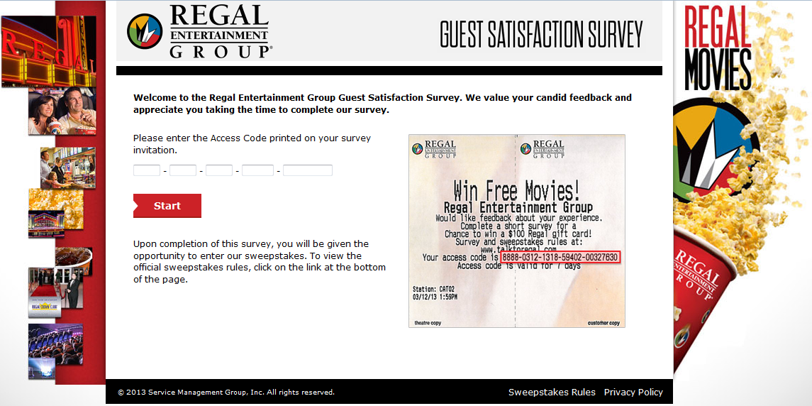www.talktoregal.com - Regal Entertainment Group Guest Satisfaction Survey
