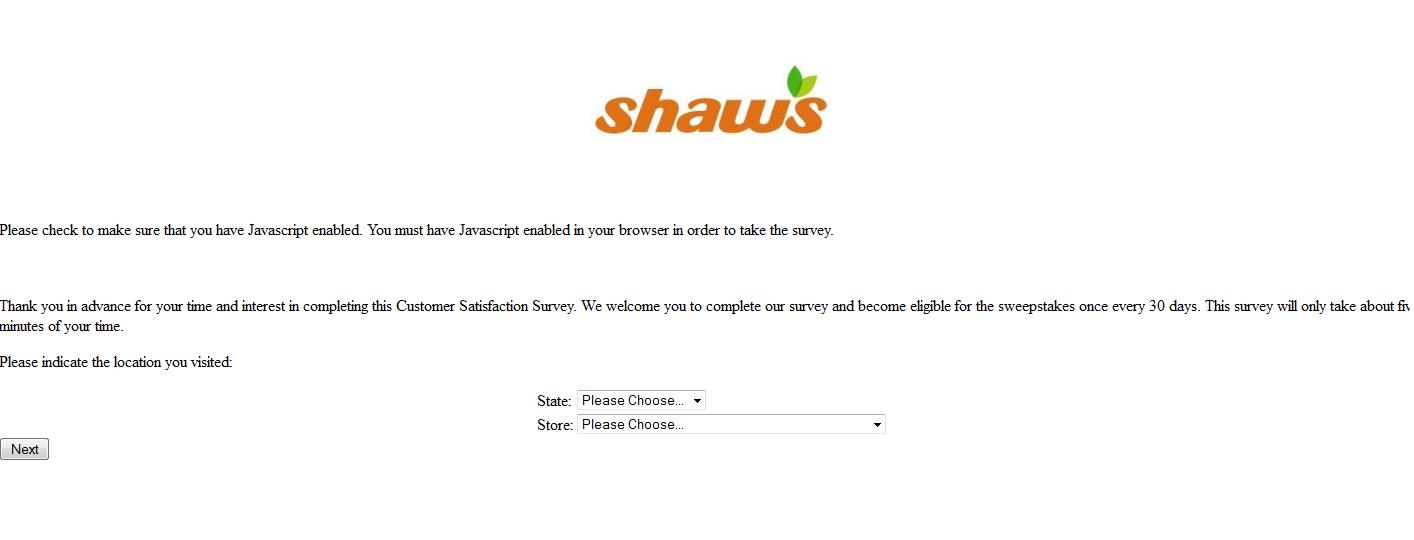 www.shawssurvey.com - Shaws Customer Satisfaction Survey