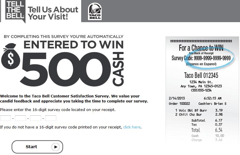 www.tellthebell.com - Taco Bell Customer Survey