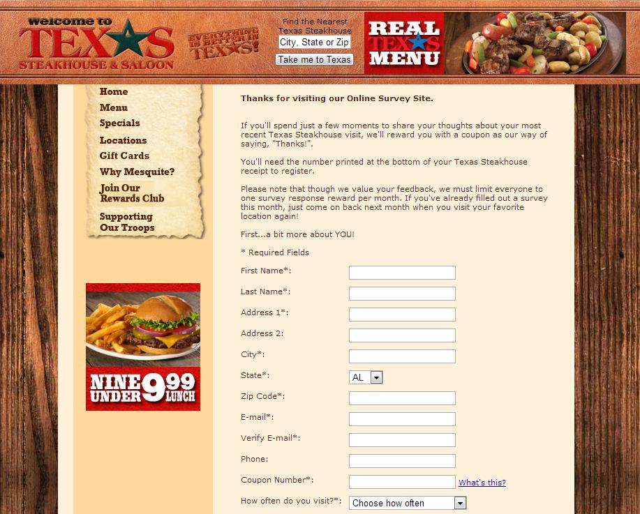 www.steakhousesurvey.com - Texas Steakhouse Online Survey