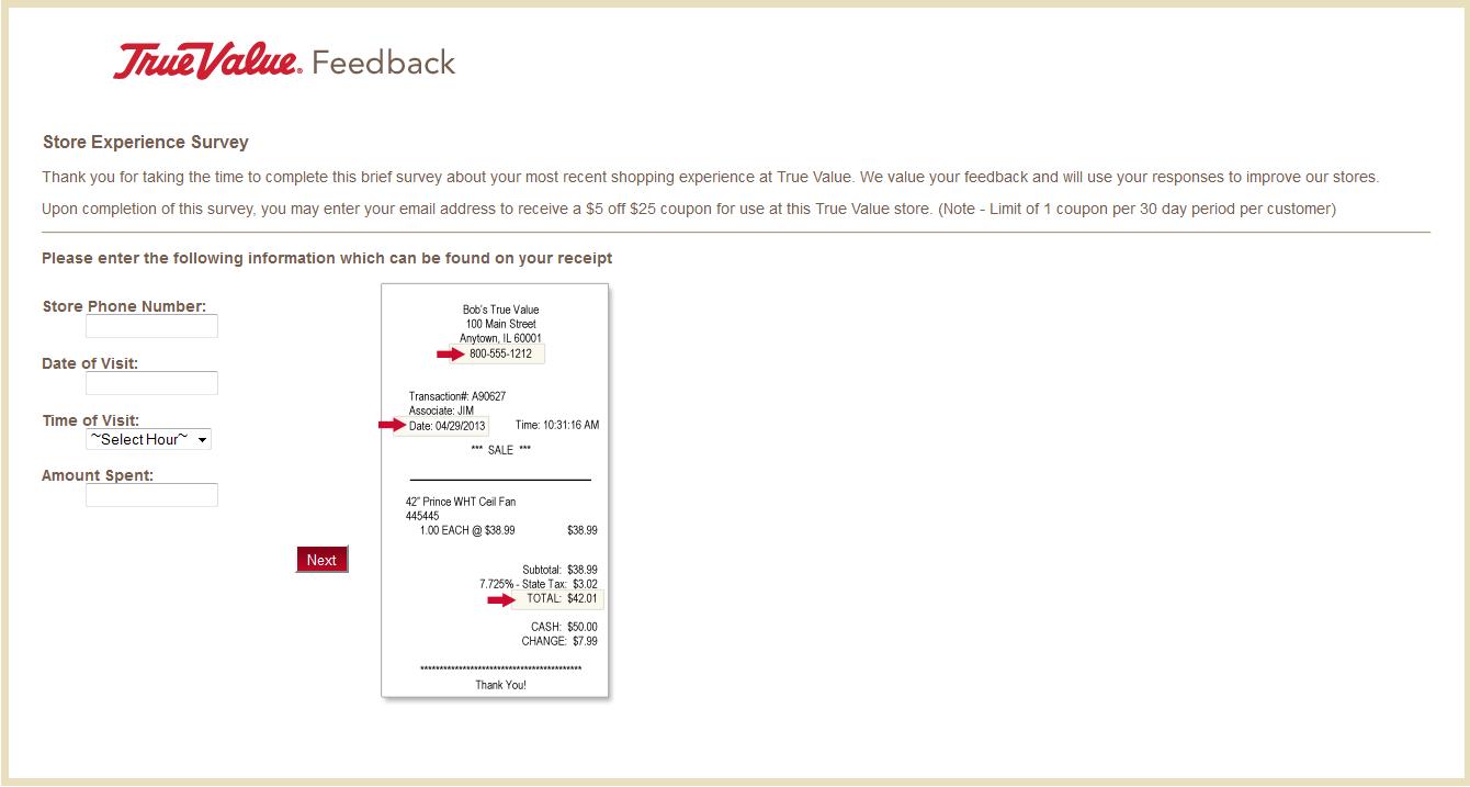 feedback.truevalue.com - True Value Store Experience Survey