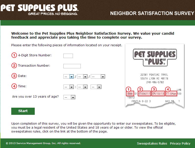 www.tellpetsuppliesplus.com - Pet Supplies Plus Neighbor Satisfaction Survey