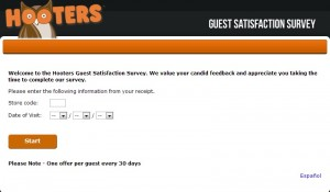 www.hooterslistens.com - Hooters Guest Satisfaction Survey