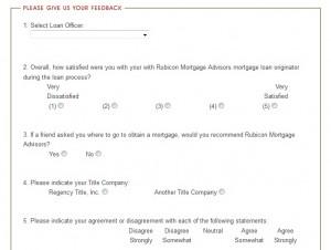 www.rubiconmortgageadvisors.com/feedback - Rubicon Mortgage Advisors Feedback Survey