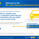 www.tellmrlube.com, $1,000 Mr. Lube Guest Survey
